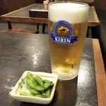 中国料理 山久 - 生ビールと枝豆