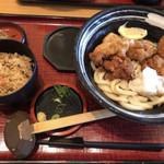 杵屋 - とり天うどんとかやくご飯の定食
