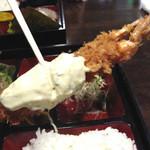 食季楽 風香 - タルタルソースたっぷりのエビフライ。この大エビフライは夜の居酒屋メニューでも人気だそうです。