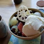 日本茶甘味処あずき - 白玉クリームあんみつです。