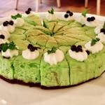 アンソレイエ - チョコミントチーズケーキ@チョコミン党には嬉しいチーズケーキ