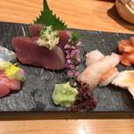 つきぢ神楽寿司 - 刺身おまかせ(黒ムツ・牡丹エビ・赤貝など)