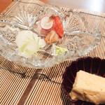 白金台こばやし - アオリイカ、金目鯛藁焼き、お造り