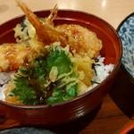 楽庵 - 天丼&麺セット
