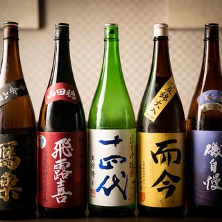 希少種や限定種のご用意も。通をも唸らせる日本酒ラインナップ