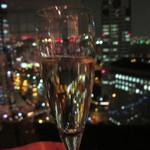 11319818 - 一人寂しく 夜景に シャンパンで乾杯