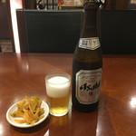 Tonkou - 中瓶ビール500円(税別)と定食のザーサイ