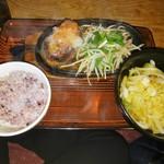 武州うどんあかねandみどりダイニング - ハンバーグ定食 梅おろし(\850)