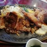 モンブラン - 日替わりランチ ステーキ、海老フライ、蟹クリームコロッケ