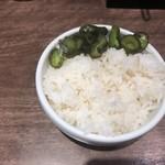 麺達うま家 - サービスライスと漬物