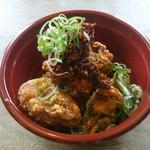嵐電 駅ビア - 料理写真:黄さんの手作り辣油てま食べる唐揚げ(税込500円)