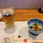 113365822 - 生ビール、あん肝ポン酢