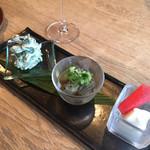 GIRINO - 前菜の三種盛り インゲンの白和え、茄子のお浸し、赤カブ
