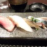 鮨 肉 酒肴 志 - 奄美産本まぐろ 明石産桜鯛 根室産初物さんま
