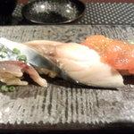 鮨 肉 酒肴 志 - 北釧鯖のしめ鯖(ワインビネガー仕立て) 釧路産時子