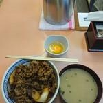 三河家 - 牛丼(並)、玉子、みそ汁
