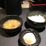 創作鉄板焼き 廣 - たまごスープ&半熟卵&ライス