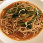 厨 NAKAMURA - 豚とツルムラサキのトマトソースパスタ