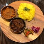 マサラ食堂 - 2種盛りチキン+キーマ