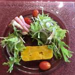 ヴィネット - 前菜。自家製生ハムは程よい塩気と弾力で本当に美味しい!これだけ食べに行きたいくらい。カボチャも甘くて美味しかった。