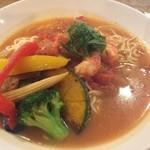 113497680 - 海老と夏野菜の冷製スープパスタ