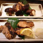魚菜市場 - 椎茸の生姜醤油焼きとブリの塩焼き