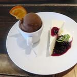 扇屋カフェ - レアチーズケーキとビターキャラメルのセット:500円
