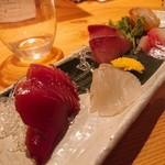 日本酒庵 吟の杜 - 吟盛(カツオ、スズキ、イナダ、クロダイ、橙カンパチ醤油漬)