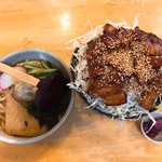 あおい - バラ丼肉増し冷し半きつねきうどんセット