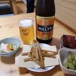 うなぎ しら澤 - 瓶ビールと骨せんべい