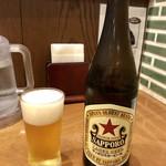 113537791 - 瓶ビール赤星 ビールと牛たんのコラボも至福(^^)