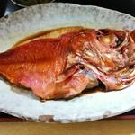 113557136 - 金目鯛煮付け定食 刺し身盛り付き