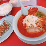山岡家山形西田店 - 地獄の激辛ラーメン 870円 餃子ライスセット 420円