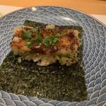割烹 一楓 - 鰻のキンパ 手巻き寿司ほどの大きさの海苔に、寿司飯、鰻のかば焼き。自分で巻いていただきます。