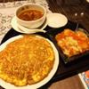 梅蘭 - 料理写真:名物 梅蘭焼きそばとエビチリとスープのセット♥