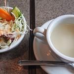 アジアンダイニング AAGAN - セットのサラダとスープ