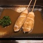 113610369 - 鶏皮と同じくらい人気の笹身しぎ焼きは、半生でも出して頂けるのが嬉しい。