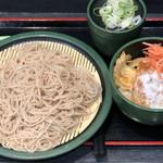 ゆで太郎 - 料理写真:日替わり得セット(冷そば)570円、クーポン麺大盛り