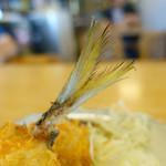 磯料理マルゴ - 黄金アジ背びれ(フライになっても黄色に輝いていた)