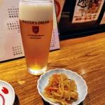 河竹鮨 - まずはビール(^_^)/□ 暑かった!