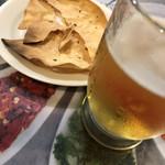 Indoresutoranarajin - ビール&お通しパパド。