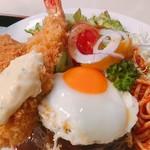キッチンスズキ - 料理写真:洋風ハンバーグ・海老フライ・ヒレカツ@1380円