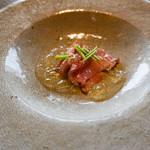 113691505 - アミューズ:レアに焼いた鴨肉とトマトのジュレ