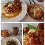 ラ パッパータ - コラージュ。本日のランチ  A鶏もものソテー(今日は胸肉)キノコのスパゲッティ 1,500円(税込)