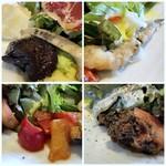 ノムカ+cafe - 副菜はどれも少量で「茄子の煮込み」「カボナータ」「ワカサギ南蛮漬け」「トマトと?」など。