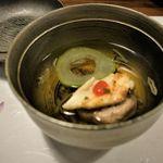 113714979 - 【吸い物】レンコン饅頭、梅アナゴ、ジュンサイ