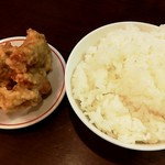 山麺 - 唐揚げとライスのセット