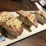 113759214 - 【飯物】和牛肉寿司 (さっと表面を焼き、肉の甘味を引き出した一品に仕上げました) ※写真は3人前です…お肉よりマヨネーズ味が立つ一品