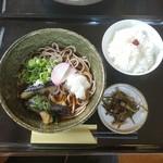 二八そば 亀福 - 料理写真:「冷やし茄子かけそば (1000円)」+「ごはん(箸休め付) (100円)」