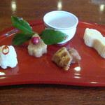 四季のテーブル - 四季ごちそう膳 花の八寸(カリフラワーピクルス、鱈子寒天寄、いくら蕪、棒鱈、卵焼)